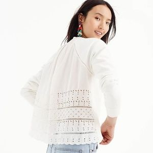 J.Crew Eyelet Back Sweatshirt Top Lace Embroidered